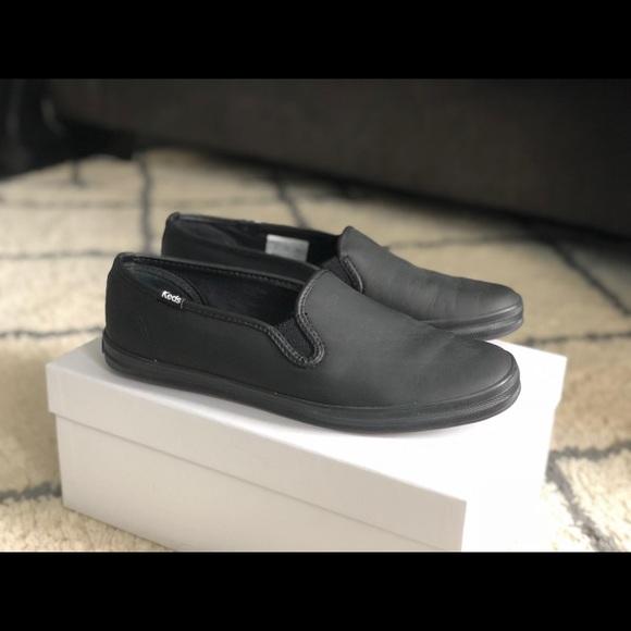 f6cad1bcbc9ce Keds Shoes - Keds Black Leather Champion Slip Ons - Size 7.5